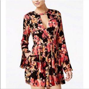 Free People Tegan floral long sleeve mini dress